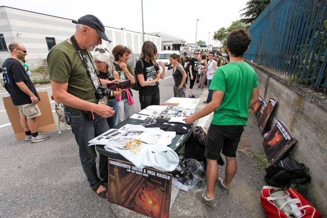 La manifestazione di sabato 12 maggio a Manerbio contro il mega macello (Fotogramma/Bs)