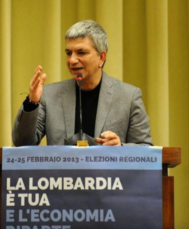 Nichi Vendola di Sinistra Ecologica Libertà all'all'auditorium della Camera di Commercio di Brescia (fotogramma)