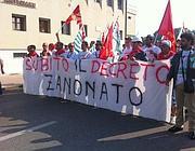 Gli operai in corteo a Verona (Foto Del Barba)